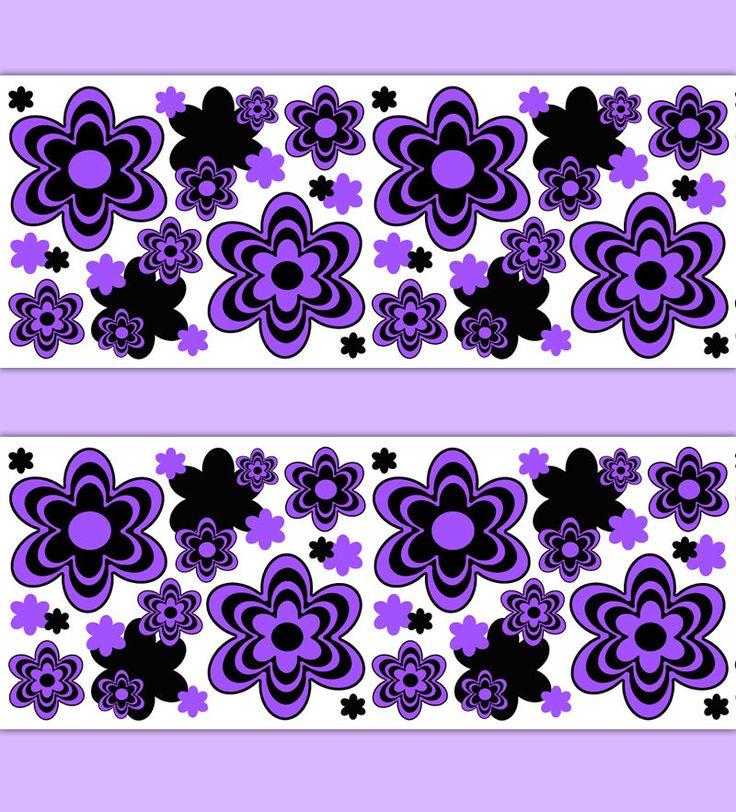 purple floral wallpaper border decals wall art teen girl room stickers decor
