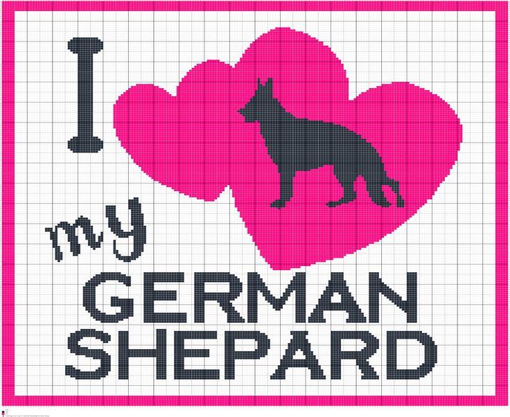 Crochet I Love My German Shepard, I Love Dogs Graphgans, Crochet, Knit, Cross Stitch Chart Patterns, Digital PDF Files by FADesignCharts on Etsy