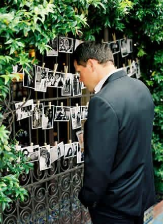 Photos + Clothespins This would be a great idea for my parents' 40th annivesary party
