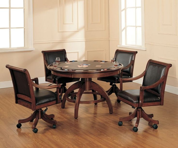 Add panache to your game room with Hillsdale Furniture's Palm Springs Game Table. Finished in a medium brown cherry, this multi-functional table offers a dining surface on one side and a game surface on the other. Composed of solid woods, climate controlled wood composites, and veneers, this ensemble can find a home in your game room, den, or kitchen. Complete your game room decor with the matching bistro table and bar stools.