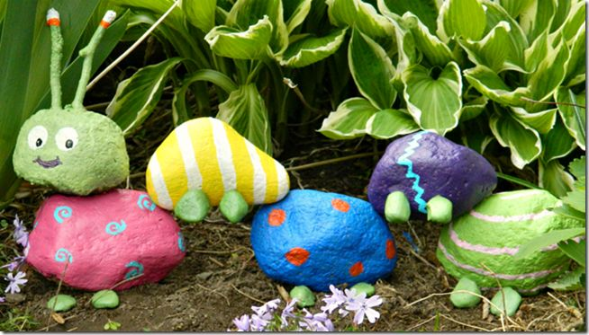 make your own rock caterpillar to go in the garden -