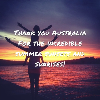 'Thank you Australia for the incredible summer sunsets and sunrises' - Mishy Canning #ThankYouAustralia