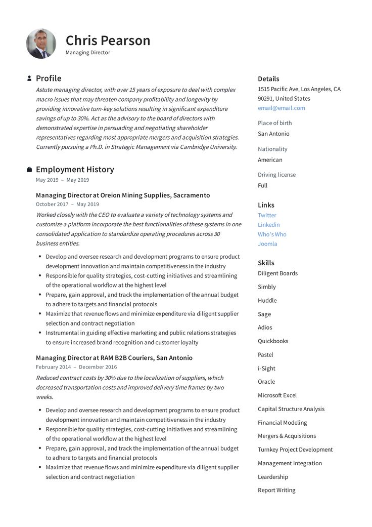 Managing director resume writing guide in 2020 with
