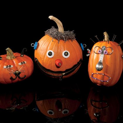 Junkins pumpkins decorated with stuff found around the house from