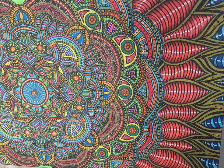 mandala xl acry leinwand zentangle 3d rot grün