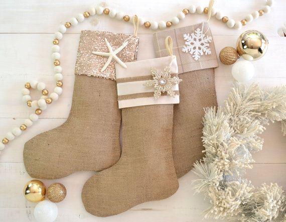 Christmas Stockings Set of 3 Burlap Stockings by TwentyEight12