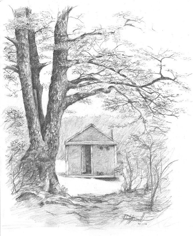 Makino Hut, Kaweka Ranges, NZ. Drawn en plein air by Felicity Deverell. The Art of a Hut Collection