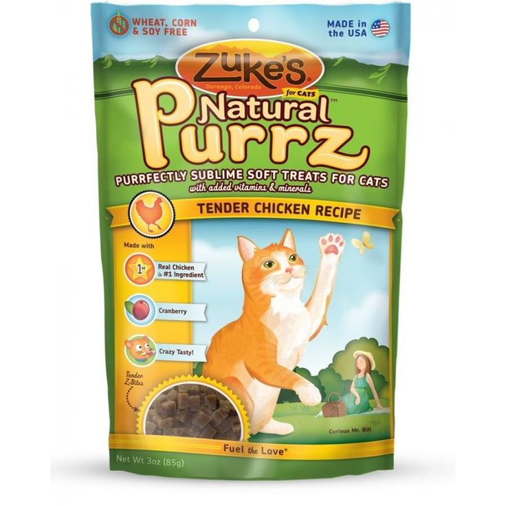 Zuke's Natural Purrz Tender Chicken Cat Treats are a healthy alternative to traditional cat treats. Cats are known for being finicky, but even the most discerning felines can't resist the delectable taste of Natural Purrz.  We're so sure your cats will love these moist and meaty morsels of premium salmon or chicken, every bag comes with a money-back guarantee. Free of artificial flavors and harsh preservatives, Natural Purrz treats are packed with all the essential vitamins and minerals cats…