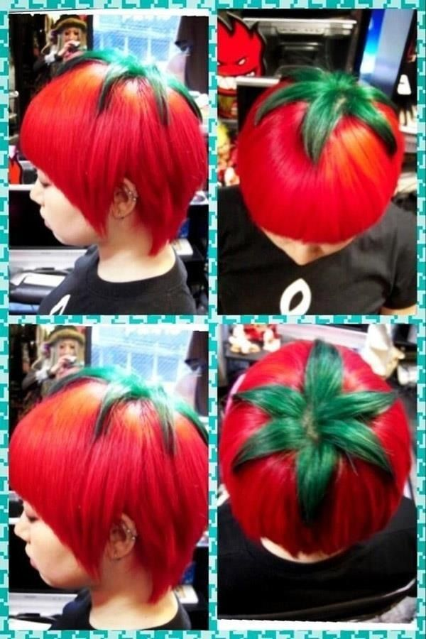 tomato emo hair cut? like idek that looks really cool, i would never do it but it still looks cool.