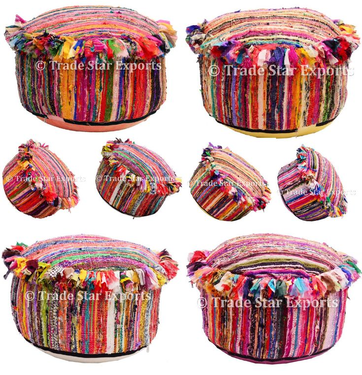 Large Rug Pouf Cover Indian Ethnic Boho Ottoman Pouf Case Round Seating Pouffe #Handmade #ArtsCraftsMissionStyle