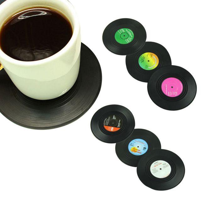 6 Unids/set Inicio Tabla Estera de la Taza Creativa Decoración Del Café bebida Placemat Vajilla Spinning Retro CD Vinyl Record Bebidas Cerveza UY