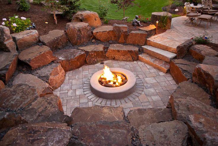 Spokane coeur d 39 alene backyard fire pit design for Outdoor fire pit construction