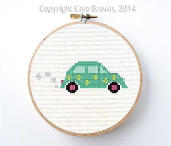 Volkswagen Bug Car Cross Stitch Pattern Instant by TheElfinForest