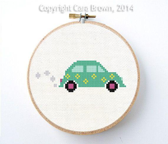 Volkswagen Bug Car Cross Stitch Pattern Instant by TheElfinForest