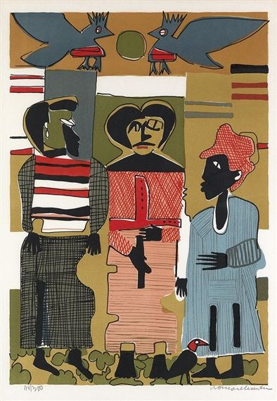 Artwork by Romare Bearden, Firebirds, Made of Color lithograph