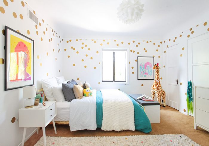 I'm in love with the bed (CB2) and I don't think I'll ever get over my love of gold polka-dot vinyl decals. My kid is getting them no matter if she shares my obsession or not!