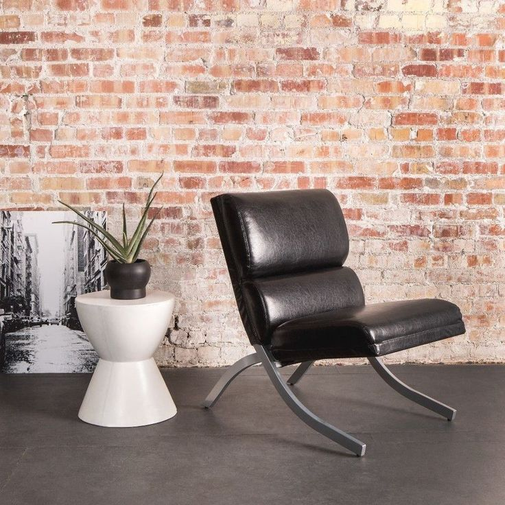 Durable Black Faux Leather Accent Chair Modern Home Office Furniture New #chair