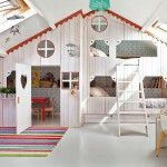Wonderful Playhouse in Attic Kids Room for Two Girls.