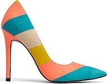 женские туфли-лодочки, высокий тонкий каблук, острый мыс, полоски бирюзовые, коралловые, желтые