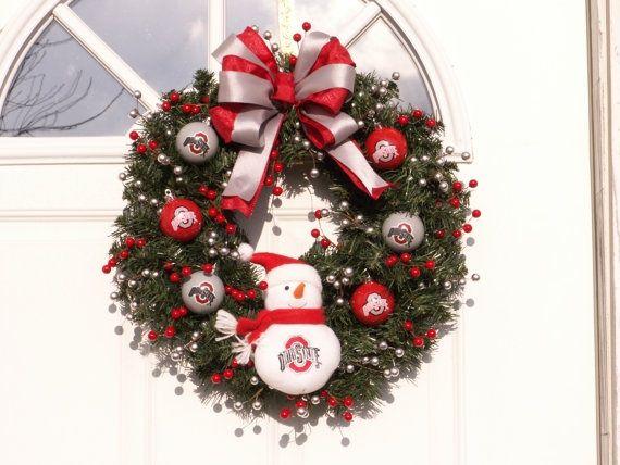 buckeye crafts | OSU wreath Ohio State buckeye ornaments red and gray by ... | crafts