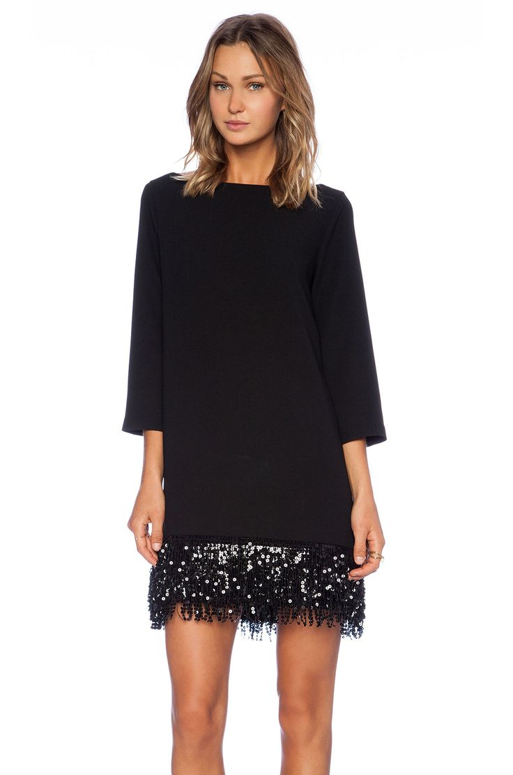 kate spade new york Sequin Fringe Mini Dress in Black | REVOLVE