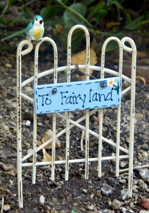 Fairy Garden Gate Fairy garden sign To Fairyland by gardenflowers1, $9.50