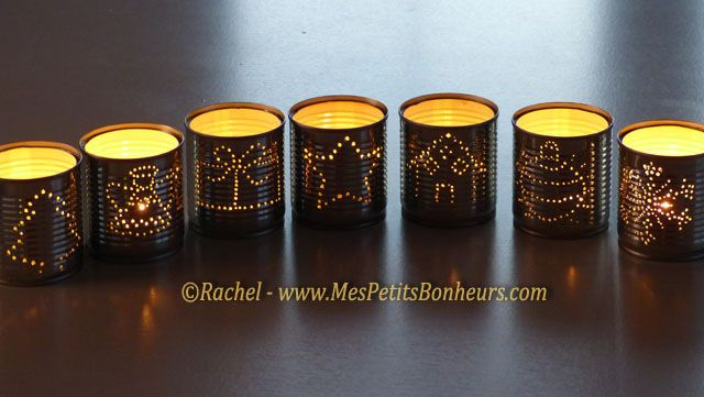 Christmas Luminaries Candle Holders recycled tin cans