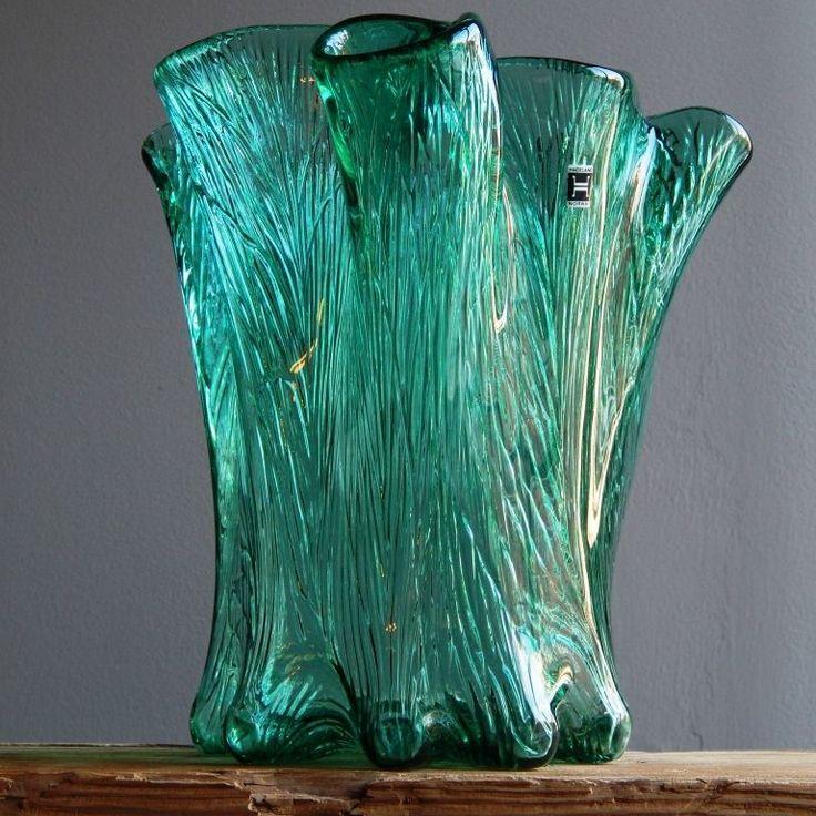 1.7 kg RARE Vintage 60-70s HADELAND NORWAY Glass Vase Norwegian Art Fat Lava Era