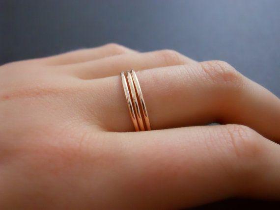 Set Of 5 Rose Gold Rings Skinny Ring Set Rose Gold by annikabella