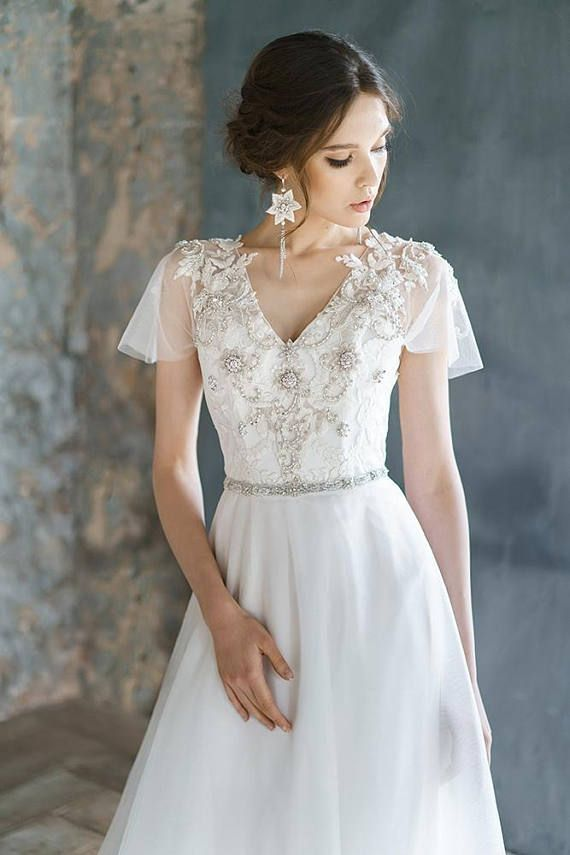 ANISIA / embroidery lace wedding dress low sexy embroidery back comfortable corset wedding gown ethereal tulle bridal gown short sleeves // 1 675,00 $