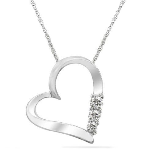 """Women's 10k White Gold 3-Stone Diamond Heart Pendant Necklace (0.07 cttw, I-J Color, I2 Clarity), 18"""" Amazon Curated Collection. $99.99. Made in India"""