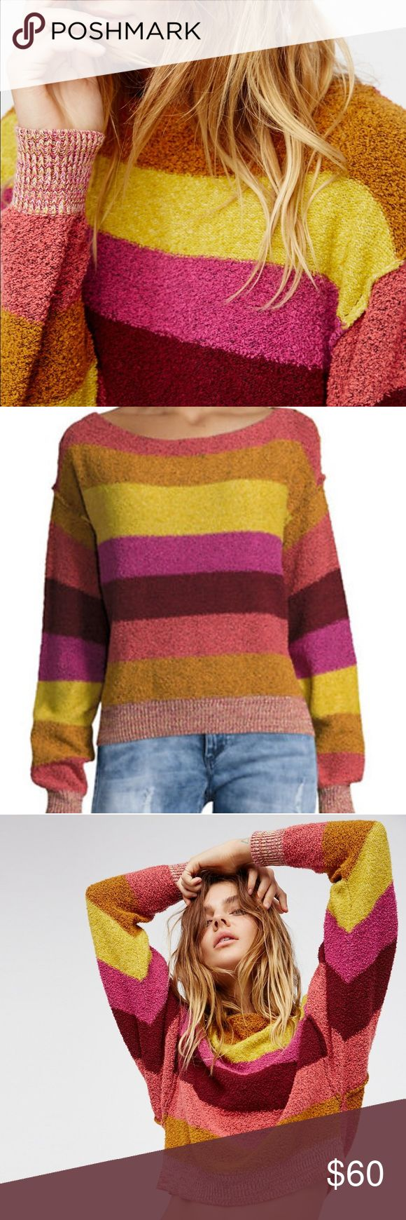 Free People Candyland Pullover Only worn once! Excellent condition. Size Small. Soft and fuzzy pullover featuring a slightly cropped for and bold striped print. Ribbed band and sleeve cuffs. Subtle side vents. Perfect for spring and summer! Cotton/Acrylic blend. Currently $98 online at FP. Free People Sweaters