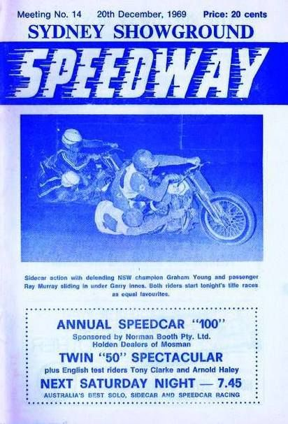 Graham Young and spectacular passenger Ray Murray lead Garry Innes on the cover...Sydney Showground Speedway programme.