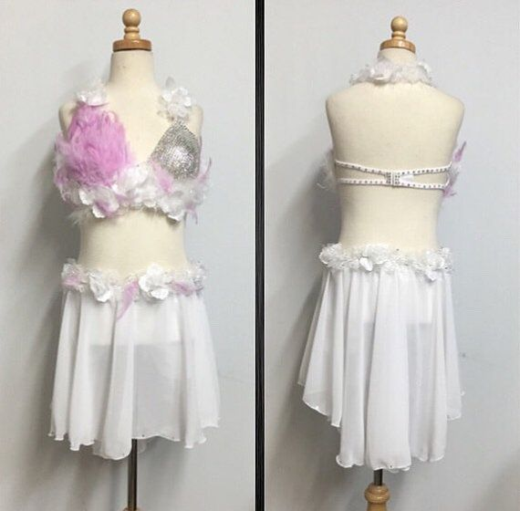 Custom lyrical costume with crystals by Uniquedancecostumes