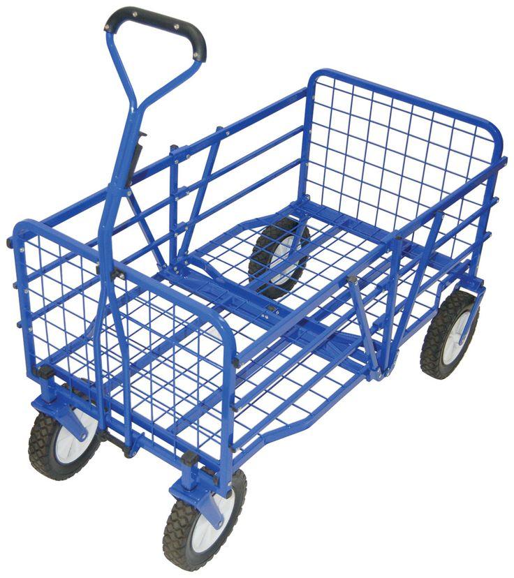outdoor folding utility cart in blue wayfair