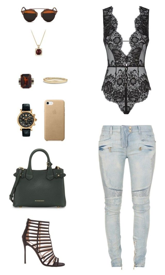 """""""House of Madalani"""" by houseofmadalani on Polyvore featuring Balmain, Gianvito Rossi, Agent Provocateur, Christian Dior, Burberry, Versace and David Yurman"""