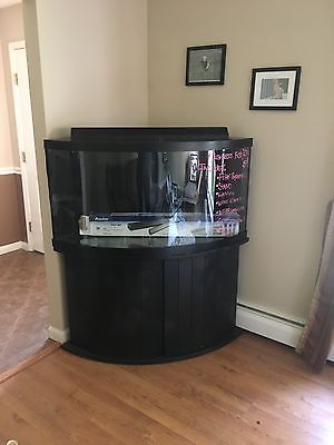 90 gallon CORNER fish tank COMPLETE WITH STAND, LIGHTING, FILTRATION, & MORE!!!