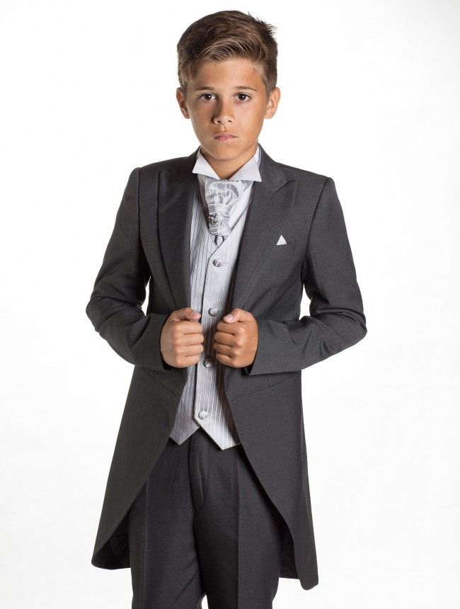 Boys Grey Suit with tails, cravat, waistcoat, Wedding, ring bearer #KNwedding