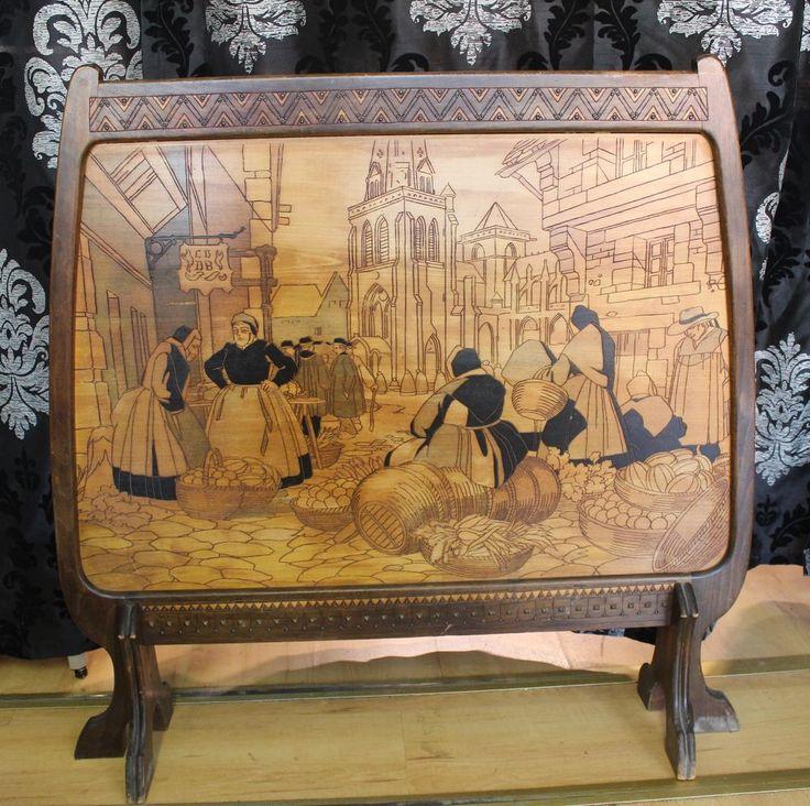 Jugendstil Stellschirm Holzgestell mit Kerbschnitzerei Frankreich um 1910