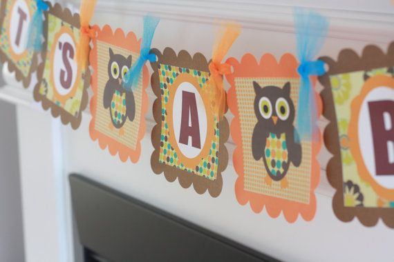 Retro Owl Brown & Orange Baby Shower It's A by DreamPartyPaperie, $25.00