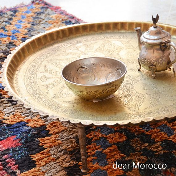Vintage Moroccan Brass Tray / Small tea table with legs / arabesque and star  design   ATQ060