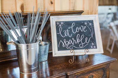 Wedding chalkboard sign. Let love sparkle. Sparkler wedding send off.