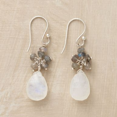 """Iridescent labradorite drops hover above shimmering moonstone briolettes, suspended from sterling silver earwires. Imported. Exclusive. Approx. 1-5/8""""L."""