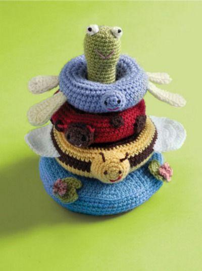 Pond Friends Stacking Toy - Free Crochet Pattern - (joann.lionbrand)