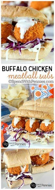 Buffalo Chicken Meat Buffalo Chicken Meatball Subs! Like Buffalo...  Buffalo Chicken Meat Buffalo Chicken Meatball Subs! Like Buffalo Wings? Youll LOVE these!! Tender chicken meatballs baked crispy in the oven rolled in buffalo sauce & topped with dip! These can be served as buffalo chicken sandwiches or sliders! Bring on March Madness! Recipe : http://ift.tt/1hGiZgA And @ItsNutella  http://ift.tt/2v8iUYW