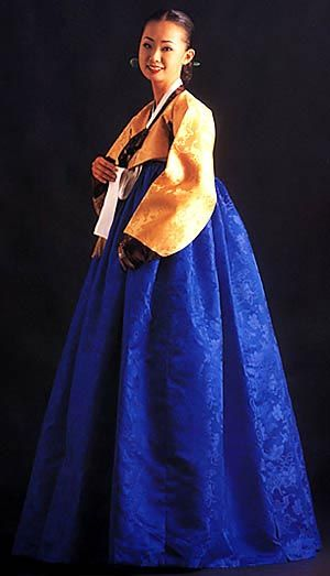 Blue and yellow hanbok