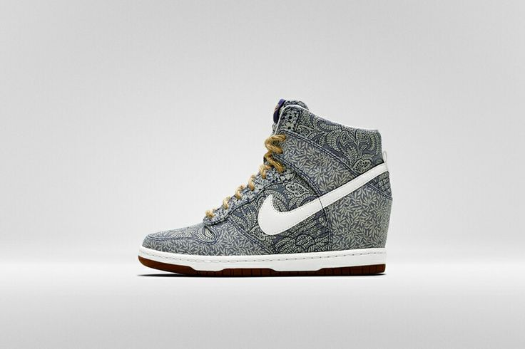 Nike x Liberty Light Blue Lora and Anoosha Liberty Print Dunk Sky Hi Wedge trainers | Shoes by Nike x Liberty | Liberty.co.uk