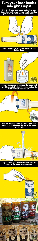 De botella a vaso de cerveza