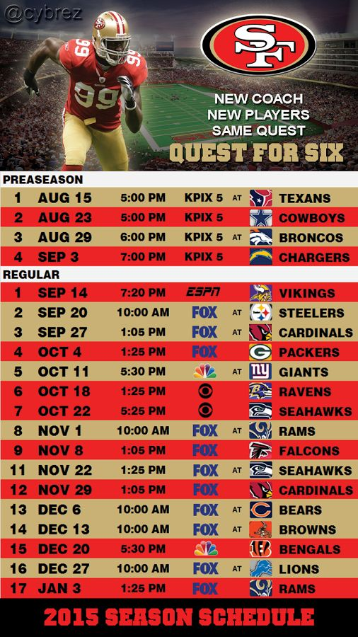 QUEST FOR 6                  2015 SEASON SCHEDULE