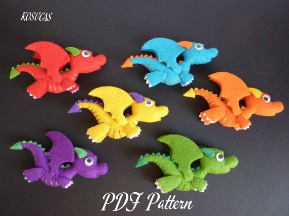 PDF sewing pattern to make a little felt dragon.  Measures: 4.7 inches long by 2.7 inches high.  It is not a finished doll.  Includes tutorial with